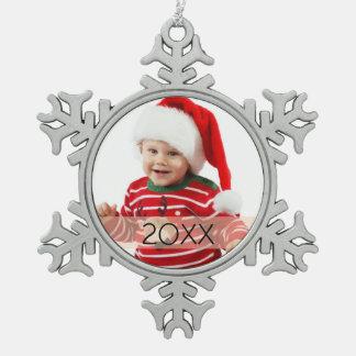 Kundenspezifische Foto-Jahr-Verzierung Schneeflocken Zinn-Ornament
