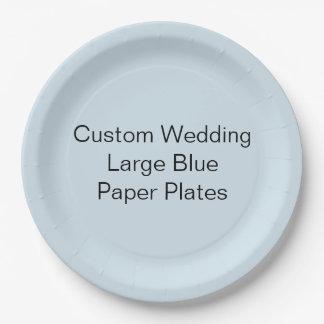 Kundenspezifische Hochzeit, großer blaues Pappteller
