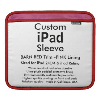 Kundenspezifische iPad Hülse - horizontal (Scheune iPad Sleeve