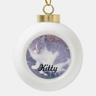 Kundenspezifische Katzen-Foto Keramik Kugel-Ornament