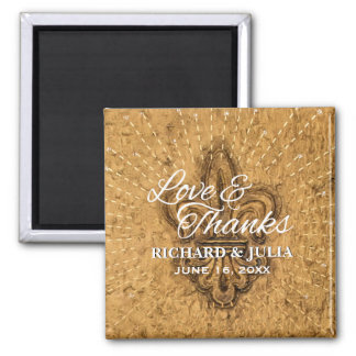 Kundenspezifische Lilien-GoldGastgeschenk Hochzeit Quadratischer Magnet