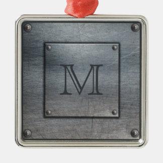 Kundenspezifische Monogrammmetallplattenverzierung Silbernes Ornament