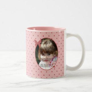 Kundenspezifische rosa Foto-Schablone Zweifarbige Tasse