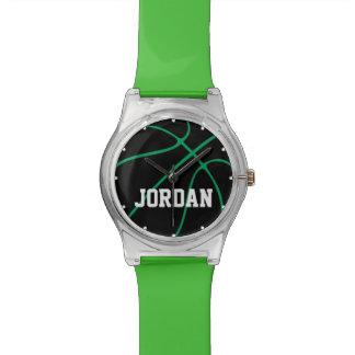 Kundenspezifische schwarze u. grüne uhr