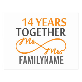 Kundenspezifischer Herr und Frau 14. Jahrestag Postkarte
