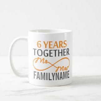 Kundenspezifischer Herr und Frau 6. Jahrestag Tasse