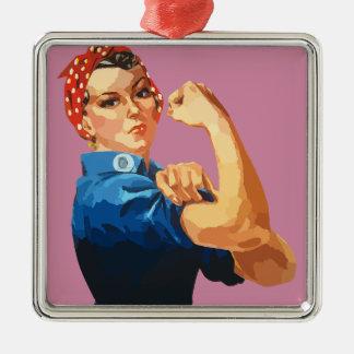Kundenspezifischer klassischer Rosie der Quadratisches Silberfarbenes Ornament