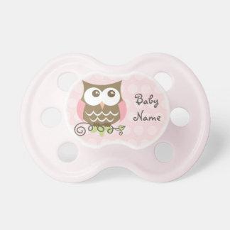 Kundenspezifischer rosa Eulen-Schnuller Baby Schnuller