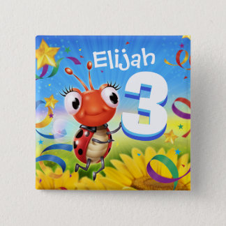 kundenspezifisches Abzeichen des Geburtstages 3yrs Quadratischer Button 5,1 Cm