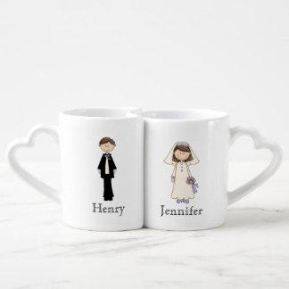 Kundenspezifisches Braut-und Bräutigam-Tassen-Set Partnertasse