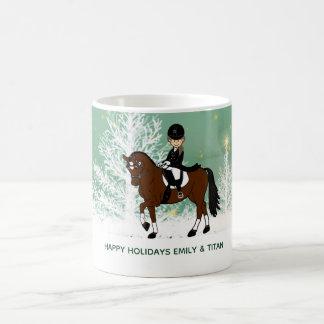 Kundenspezifisches Dressage-Pferdereiter-Geschenk Tasse