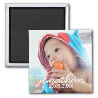 Kundenspezifisches Foto mit Namen und Datum Quadratischer Magnet