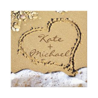 Kundenspezifisches Hochzeits-Leinwand-Herz auf dem Gespannter Galerie Druck