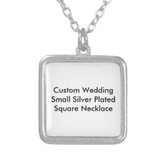 Kundenspezifisches Hochzeits-Silber überzogener Halskette Mit Quadratischem Anhänger