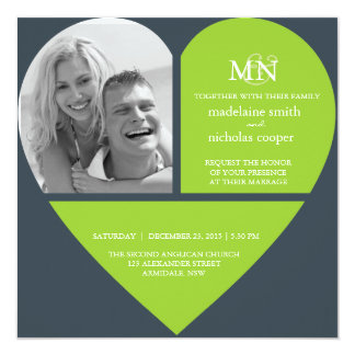 Kundenspezifisches Liebeherz-Foto-Hochzeits-Set Quadratische 13,3 Cm Einladungskarte