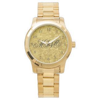 Kundenspezifisches mit Monogramm Gold mit Blumen Uhr