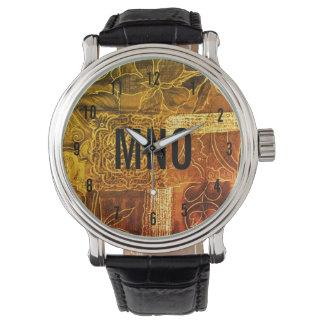 Kundenspezifisches mit Monogramm Goldpatchwork Armbanduhr