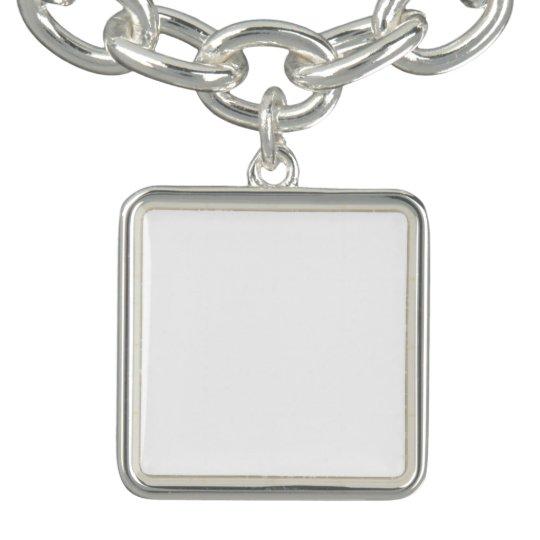 Quadrat Charm Armband, Versilbert