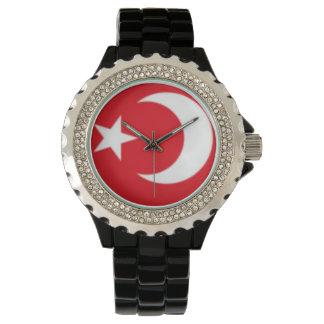 Kundenspezifisches Rhinestone-Schwarz-Email Uhr