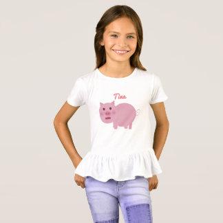 Kundenspezifisches schüchternes rosa Schwein T-Shirt