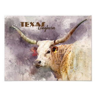 Kundenspezifisches TexasLonghornwatercolor-Foto Fotodruck