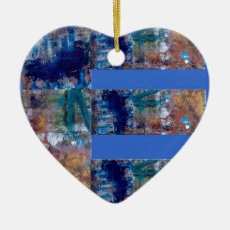 """Kunst auf Blauem Grund """"E"""" Keramik Herz-Ornament"""