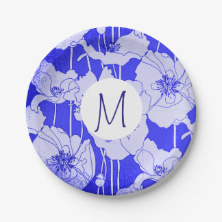 Kunst-blaue Mohnblumen-Monogramm Pappteller