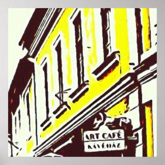 """""""Kunst-Café-"""" Gelb-Gebäude übersteigt Poster"""