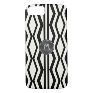 Kunst-Deko-Art-Creme-Schwarz-geometrisches Muster iPhone 8/7 Hülle