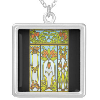 Kunst-Deko-beflecktes Glas-Blumenhalskette Versilberte Kette