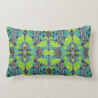 Kunst-Deko-Muster - tropische Grüntöne und Blues Lendenkissen