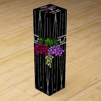 Kunst-Deko-Trauben auf dem Schwarzen und Silber Wein-Geschenkverpackung