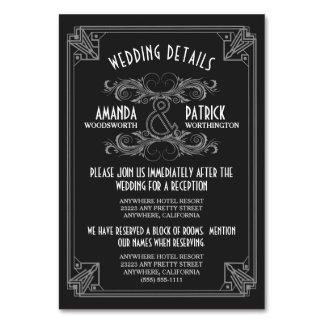 Kunst-Deko-Vintage schwarze Hochzeit fügt Karten