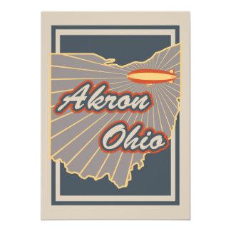 Kunst-Druck Akrons, Ohio - Reise-Grafik v2 Karte