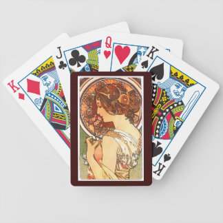 Kunst Nouveau Blumen-Dame Woman Floral Nostalgia Bicycle Spielkarten