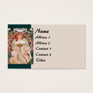 Kunst Nouveau Blumen-Dame Woman Floral Nostalgia Visitenkarten