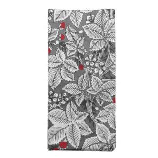 Kunst Nouveau Erdbeeren und Blätter, Grau u. Weiß Stoffserviette
