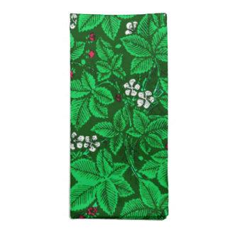 Kunst Nouveau Erdbeeren und Blätter, Smaragdgrün Stoffserviette