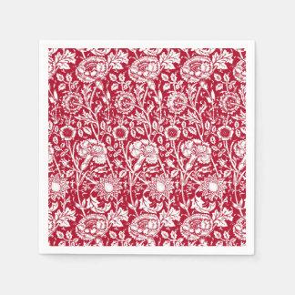 Kunst Nouveau Gartennelken-Damast, Rot und Weiß Papierserviette