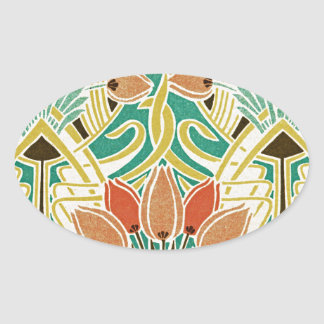 Kunst Nouveau Muster #11 Ovaler Aufkleber