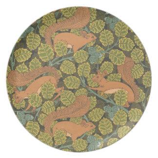 Kunst Nouveau rotes Eichhörnchen Melamin-Platte Flache Teller