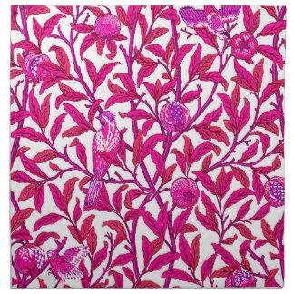 Kunst Nouveau Vogel und Granatapfel, Fuchsien-Rosa Serviette