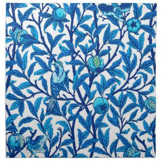 Kunst Nouveau Vogel und Granatapfel, Kobalt-Blau Stoffserviette