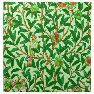 Kunst Nouveau Vogel und Granatapfel, Limones Grün Stoffserviette