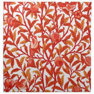 Kunst Nouveau Vogel und Granatapfel, Mandarine Stoffserviette