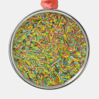 Kunstfarbe Rundes Silberfarbenes Ornament