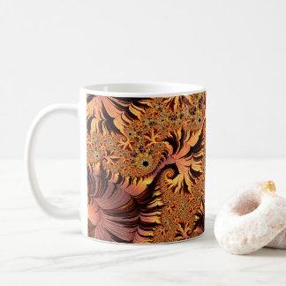 Kupfer-und Goldherbst färbte Blätter-Fraktal-Kunst Tasse