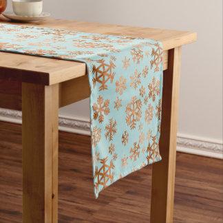 Kupfernes Schneeflocke-Muster am Kurzer Tischläufer