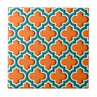 Kürbis, aquamariner, weißer Marokkaner Quatrefoil Kleine Quadratische Fliese