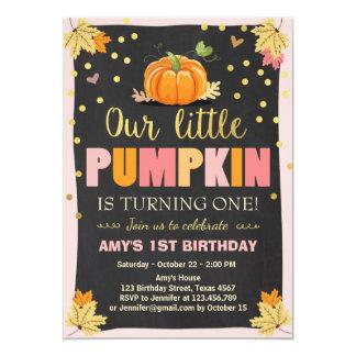 Kürbis-Geburtstagseinladung Rosa-erster Geburtstag 12,7 X 17,8 Cm Einladungskarte